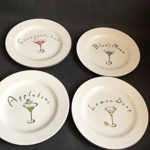Set Of 4 Pottery Barn Martini Plates